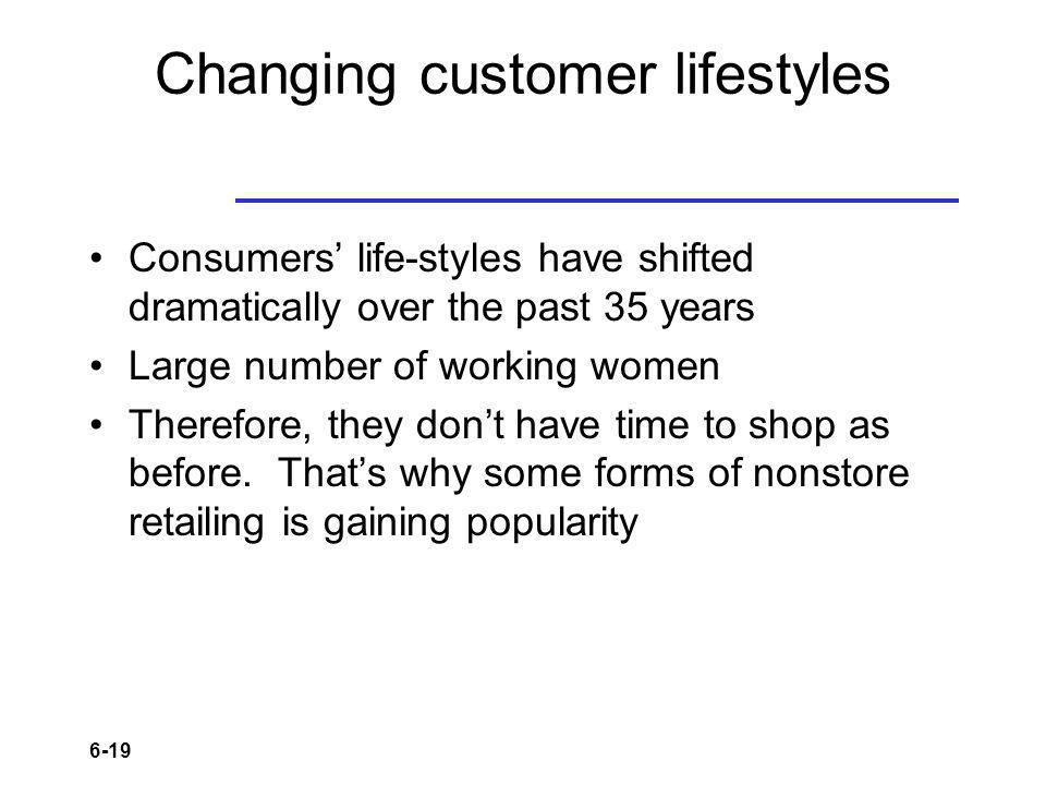 Changing customer lifestyles