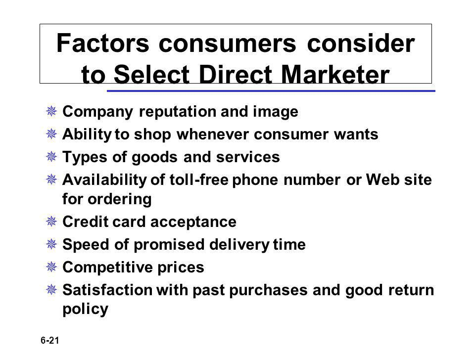 Factors consumers consider to Select Direct Marketer