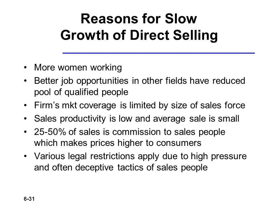 Reasons for Slow Growth of Direct Selling