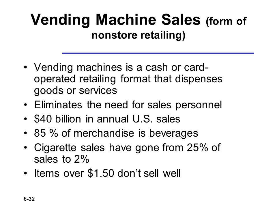 Vending Machine Sales (form of nonstore retailing)