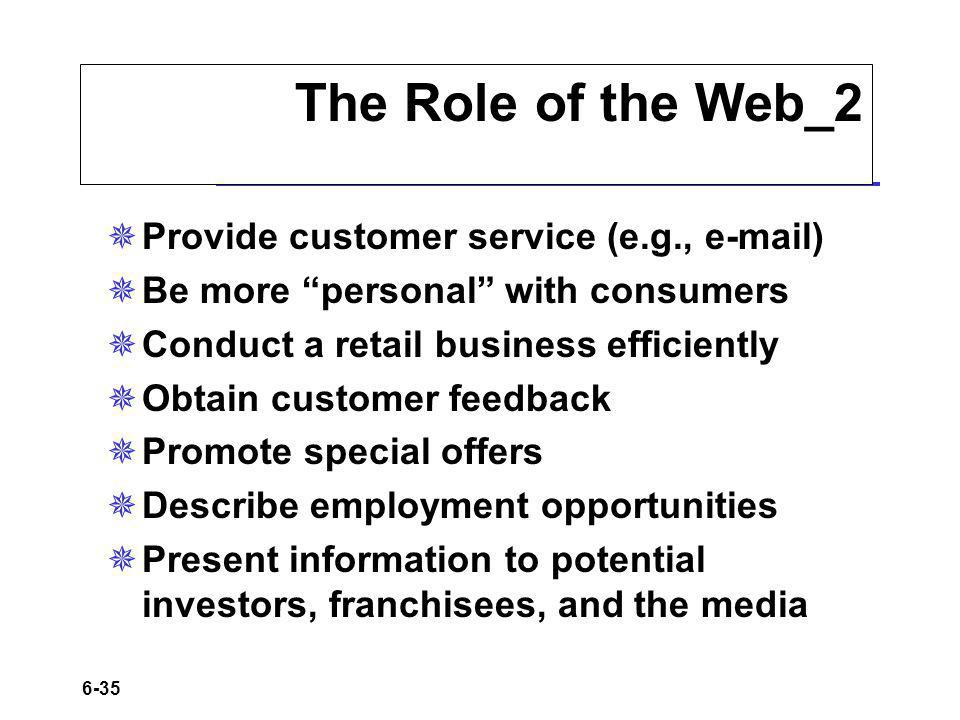 The Role of the Web_2 Provide customer service (e.g., e-mail)