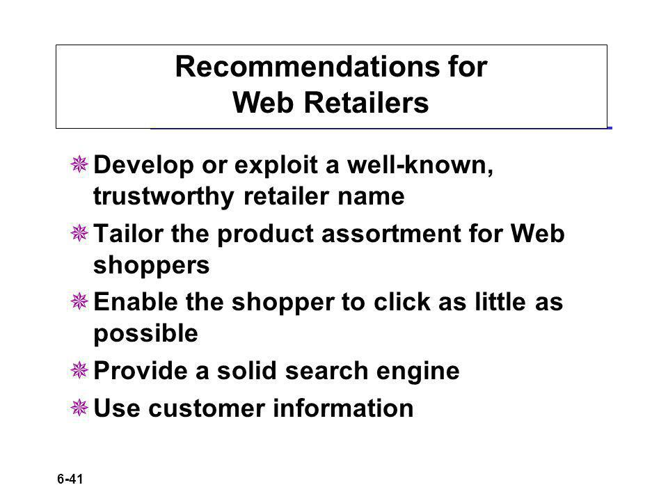 Recommendations for Web Retailers