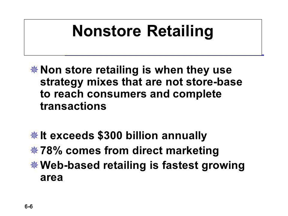 Nonstore Retailing Non store retailing is when they use strategy mixes that are not store-base to reach consumers and complete transactions.
