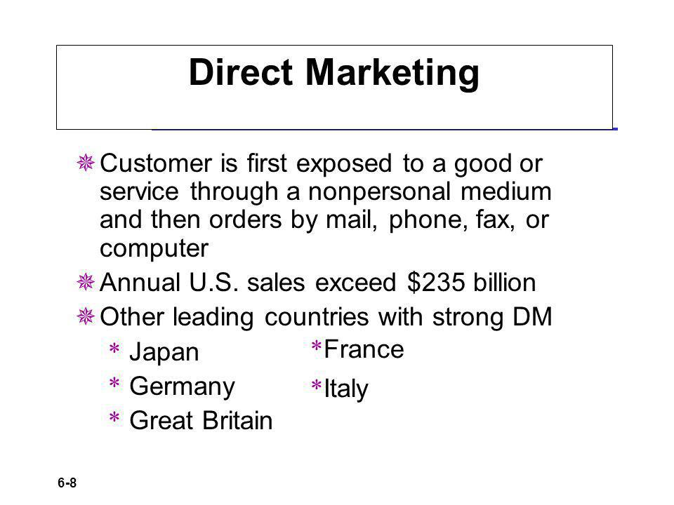 Direct Marketing Customer is first exposed to a good or service through a nonpersonal medium and then orders by mail, phone, fax, or computer.