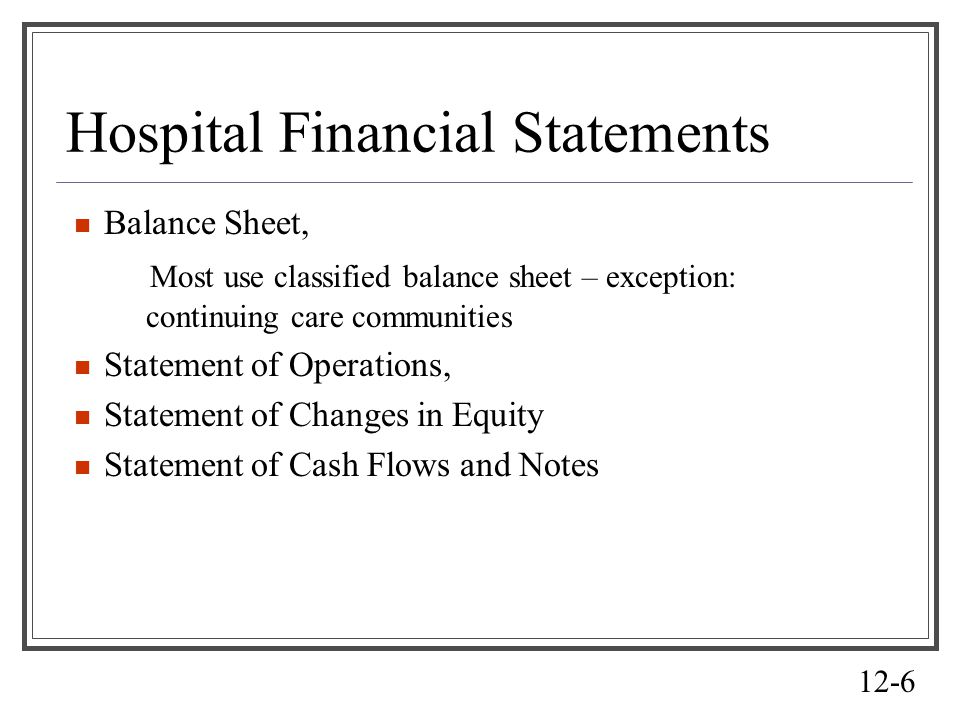 Hospital Financial Statements