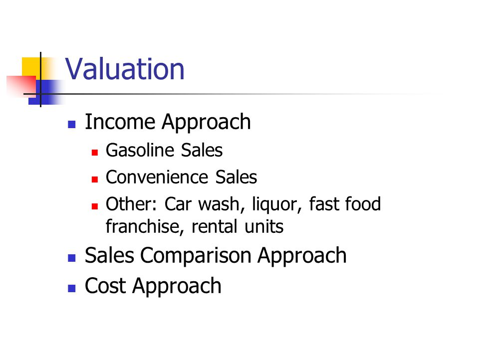 Valuation Income Approach Sales Comparison Approach Cost Approach
