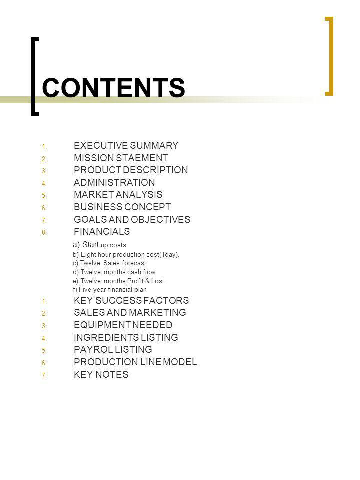 CONTENTS EXECUTIVE SUMMARY MISSION STAEMENT PRODUCT DESCRIPTION