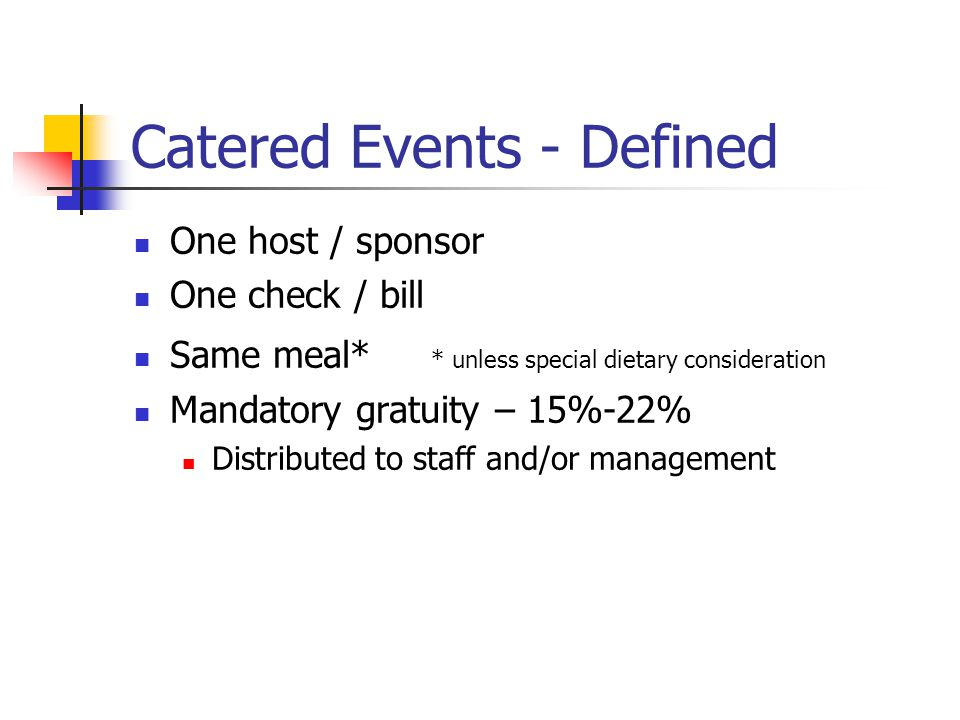 Catered Events - Defined