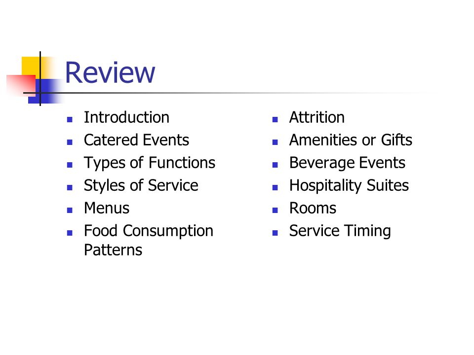 Review Introduction Catered Events Types of Functions