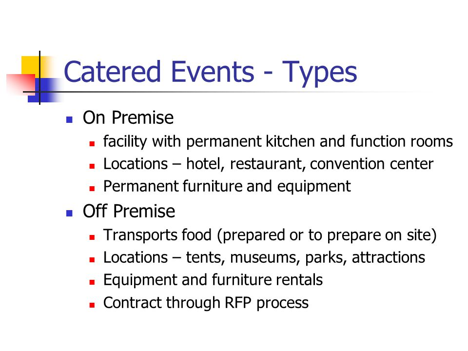 Catered Events - Types On Premise Off Premise