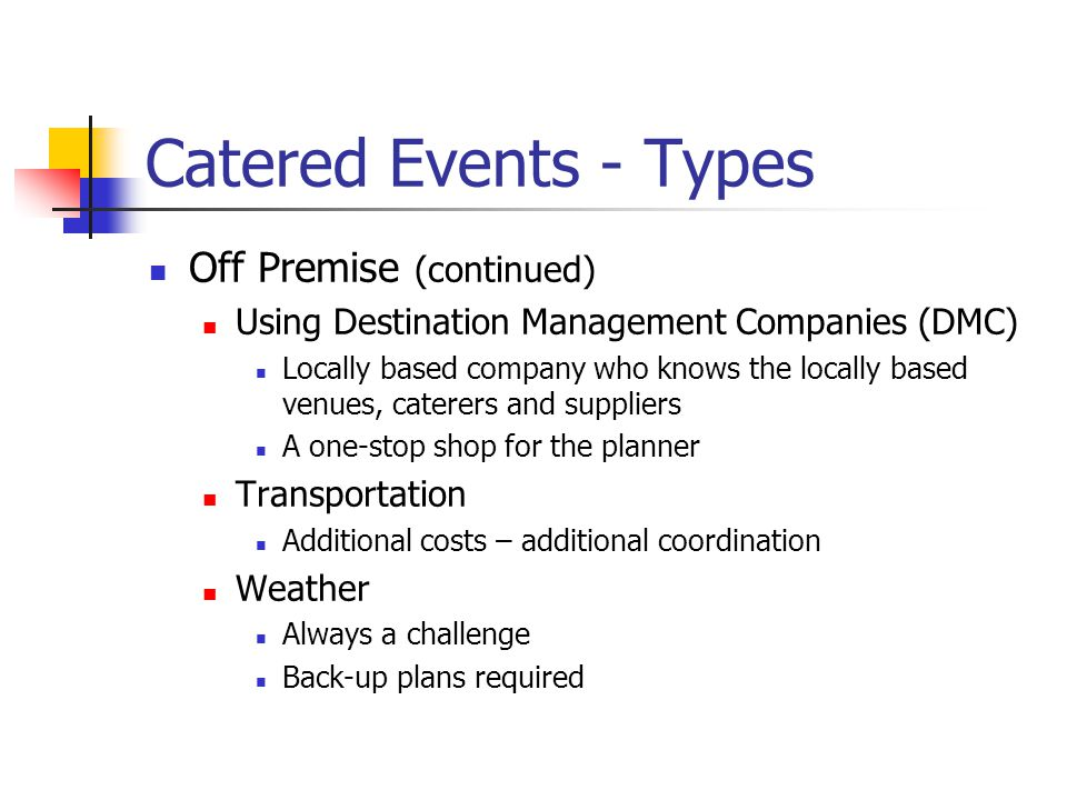 Catered Events - Types Off Premise (continued)