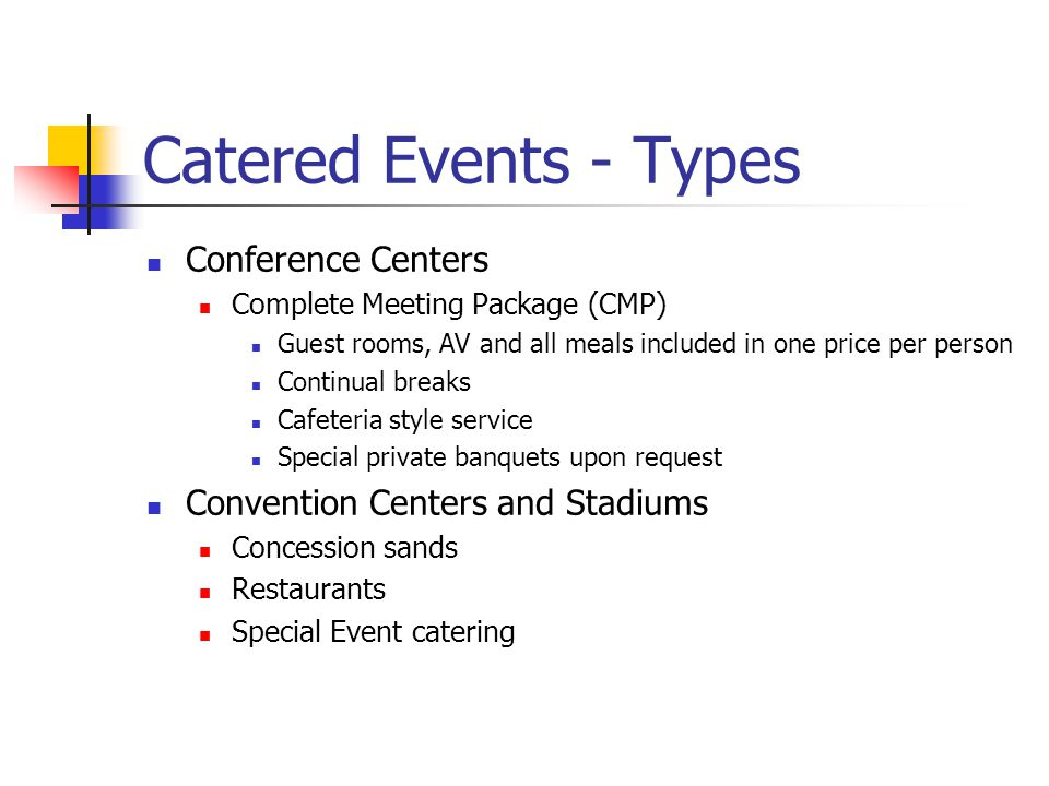 Catered Events - Types Conference Centers
