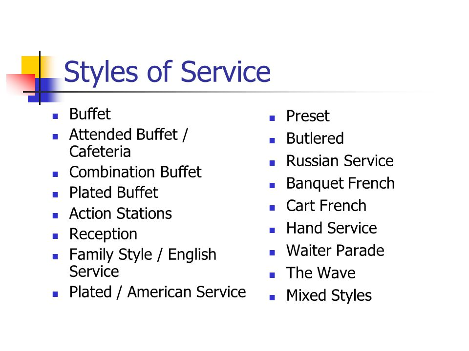 Styles of Service Buffet Attended Buffet / Cafeteria