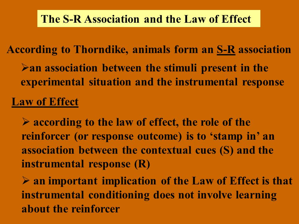 The S-R Association and the Law of Effect