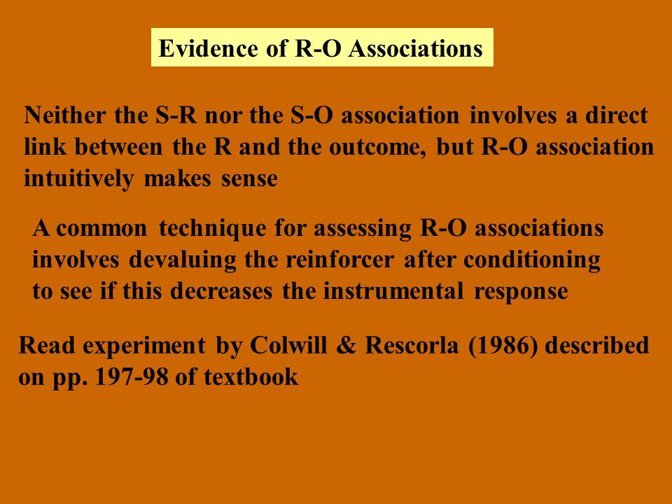 Evidence of R-O Associations