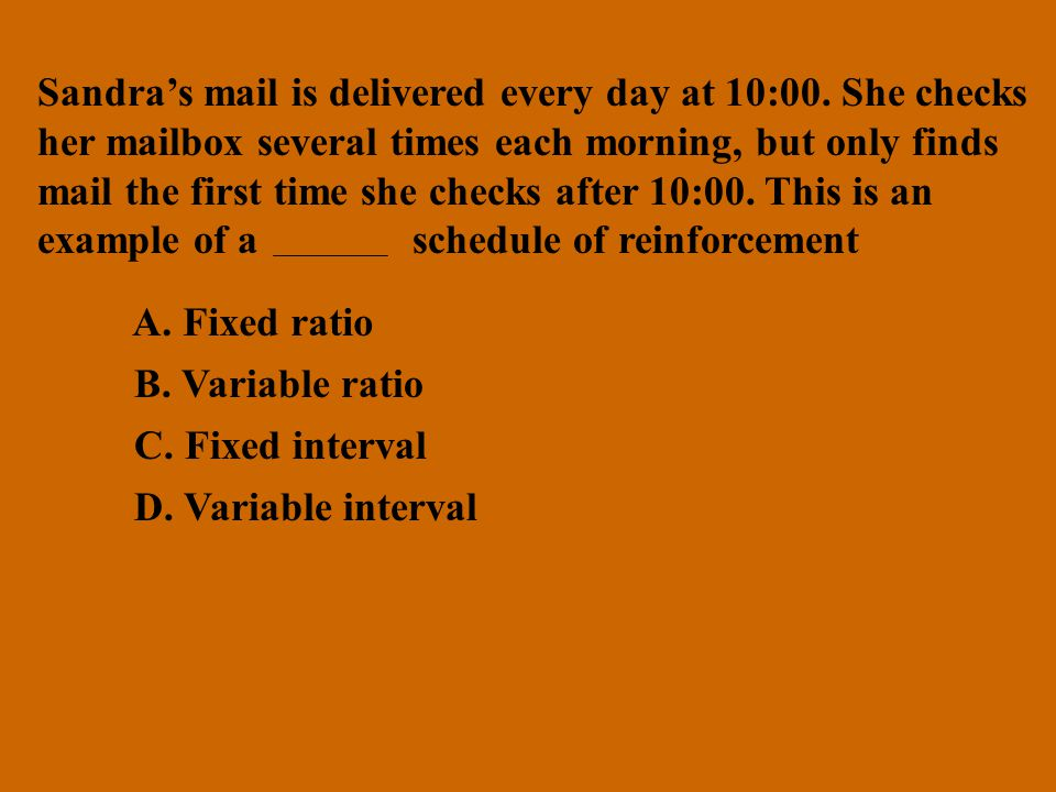 Sandra's mail is delivered every day at 10:00. She checks
