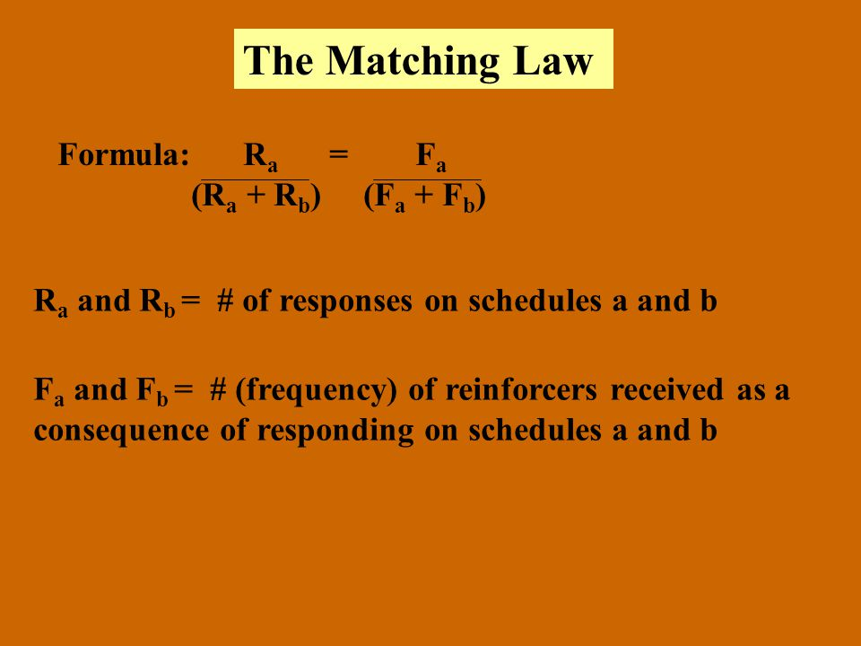 The Matching Law Formula: Ra = Fa (Ra + Rb) (Fa + Fb)