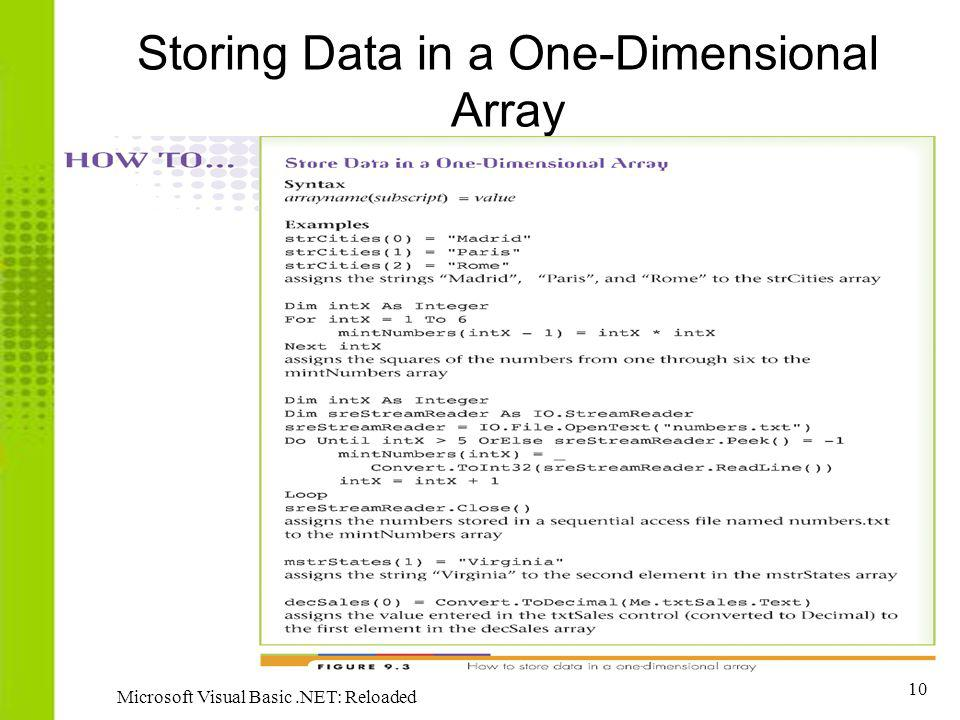 Storing Data in a One-Dimensional Array
