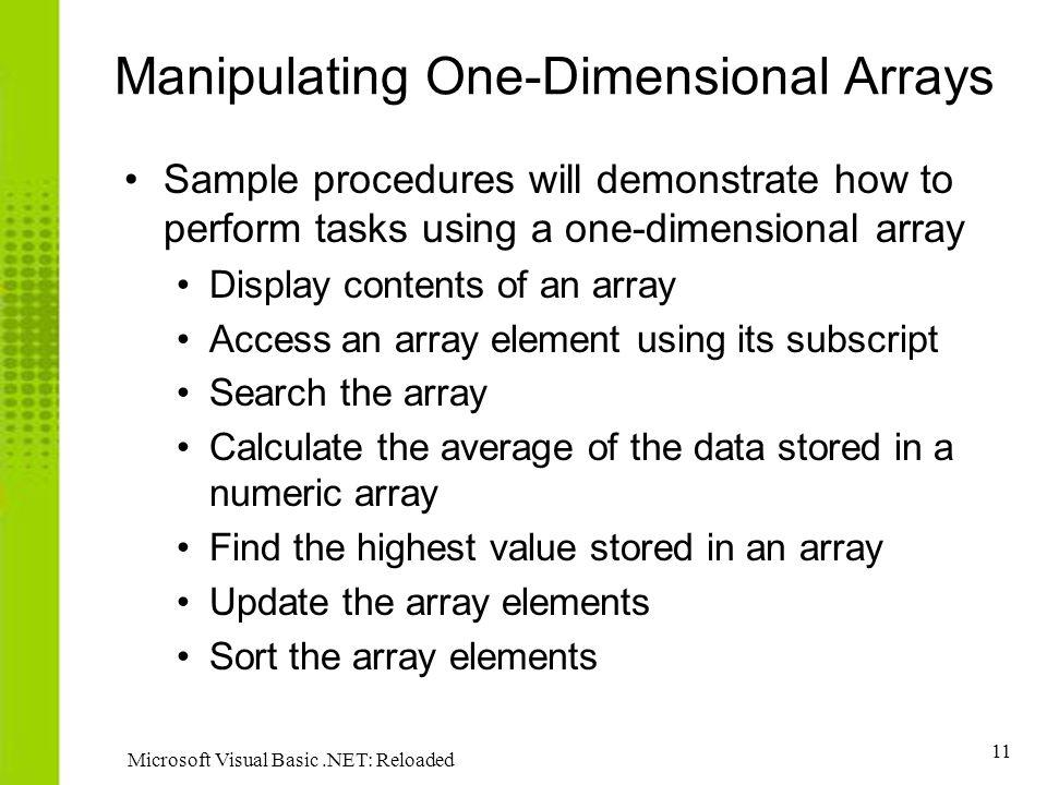 Manipulating One-Dimensional Arrays