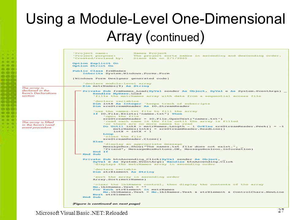 Using a Module-Level One-Dimensional Array (continued)