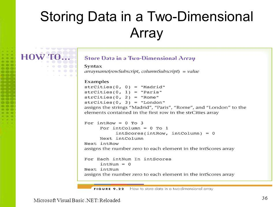 Storing Data in a Two-Dimensional Array