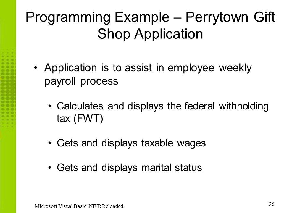 Programming Example – Perrytown Gift Shop Application