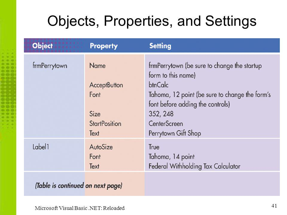 Objects, Properties, and Settings