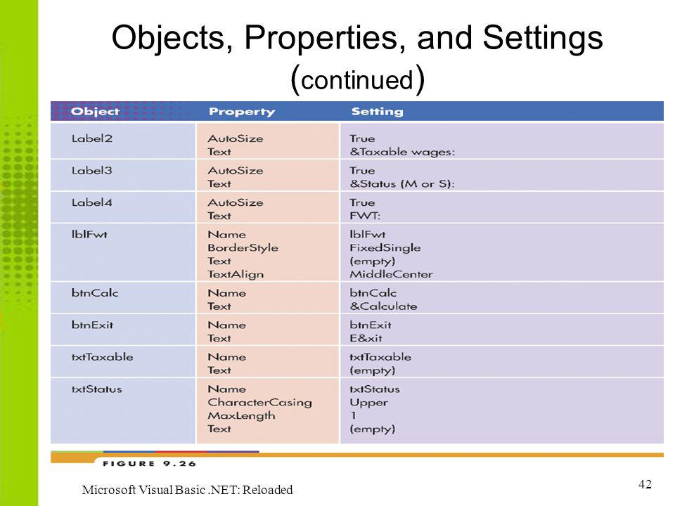 Objects, Properties, and Settings (continued)