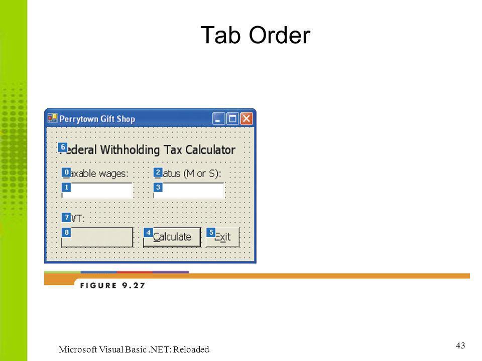 Tab Order Microsoft Visual Basic .NET: Reloaded