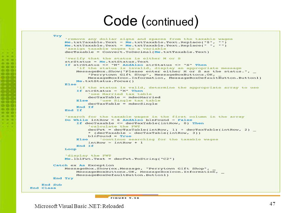Code (continued) Microsoft Visual Basic .NET: Reloaded