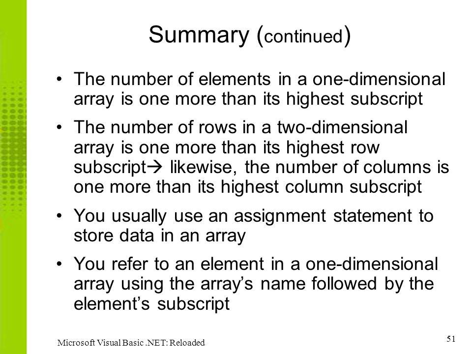 Summary (continued) The number of elements in a one-dimensional array is one more than its highest subscript.