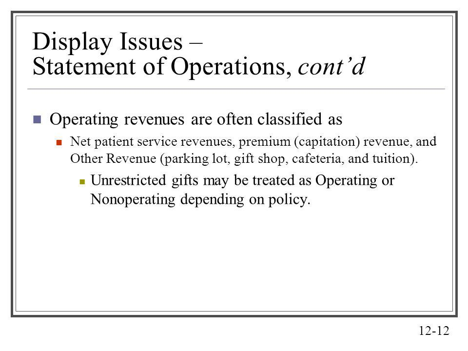 Display Issues – Statement of Operations, cont'd