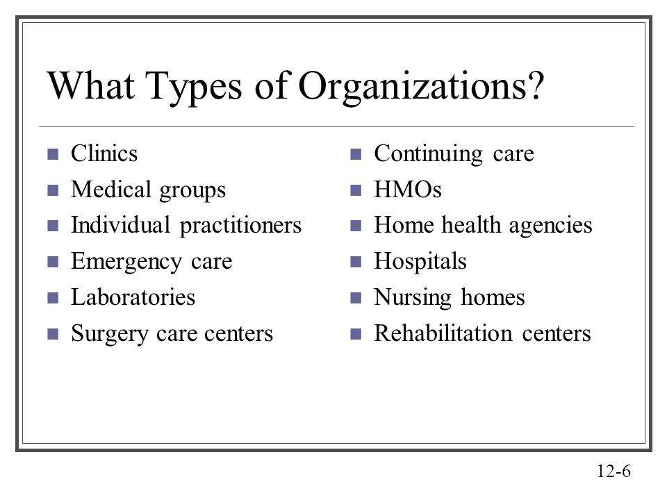 What Types of Organizations