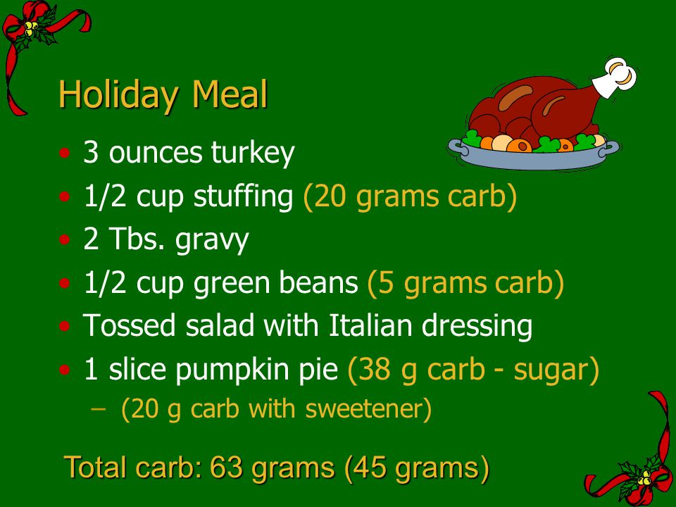 Holiday Meal 3 ounces turkey 1/2 cup stuffing (20 grams carb)