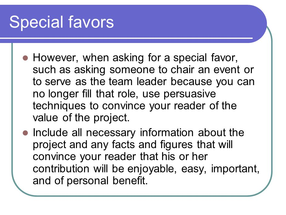 Special favors