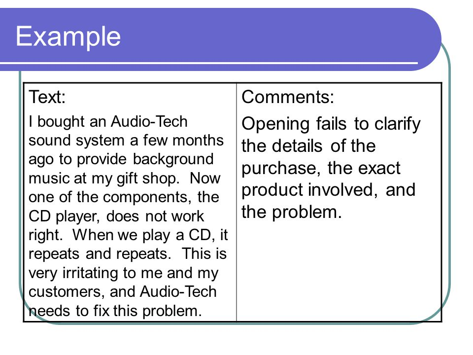 Example Text: Comments: