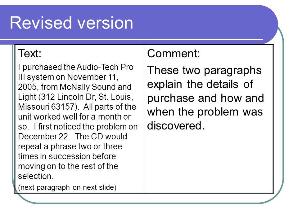 Revised version Text: Comment: