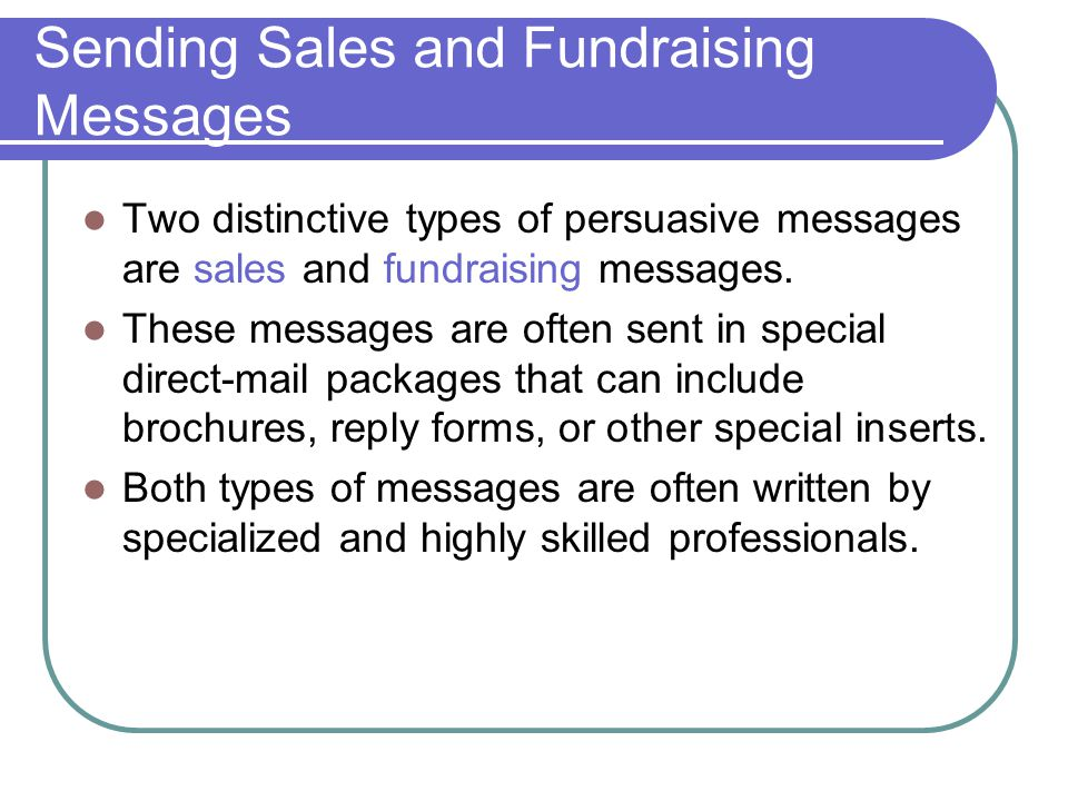Sending Sales and Fundraising Messages