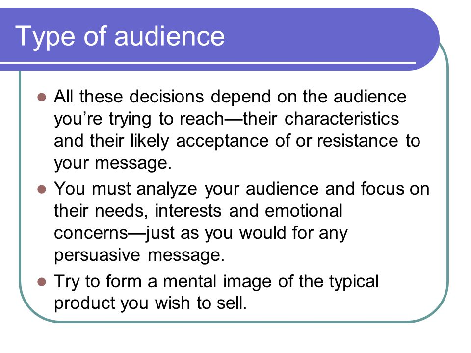 Type of audience