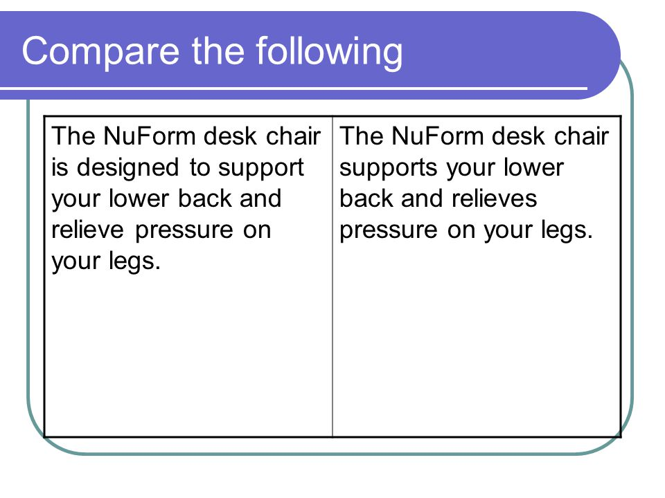 Compare the following The NuForm desk chair is designed to support your lower back and relieve pressure on your legs.
