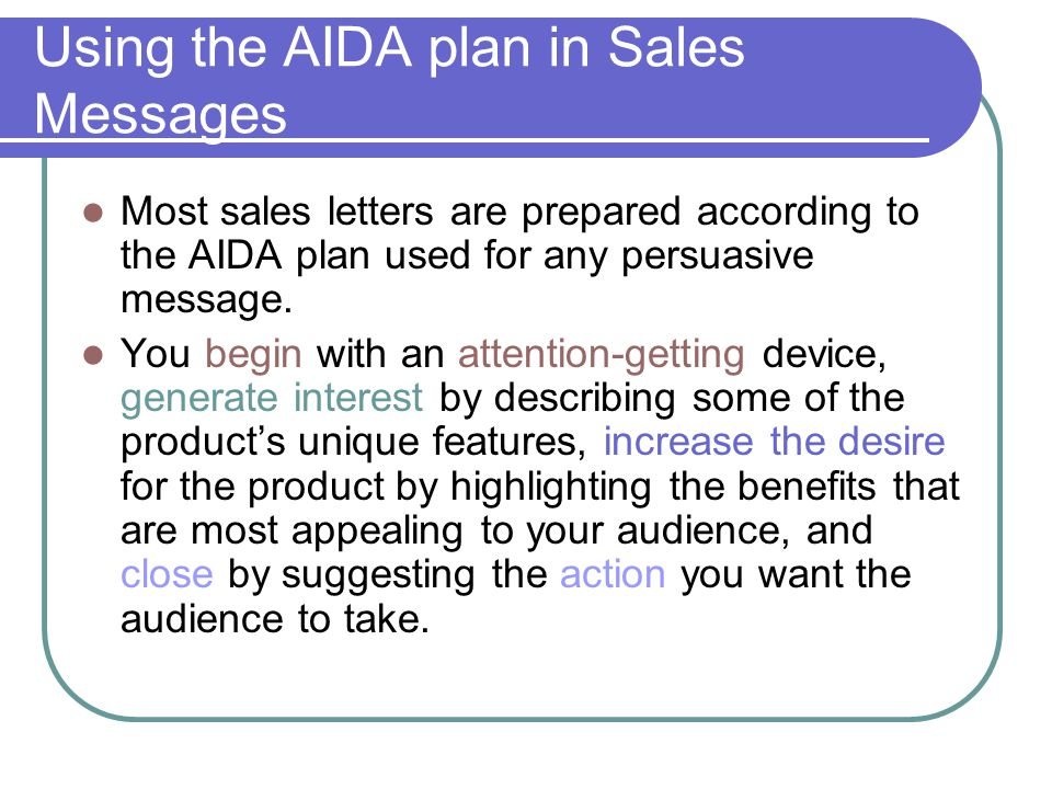Using the AIDA plan in Sales Messages