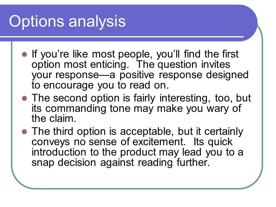 Options analysis