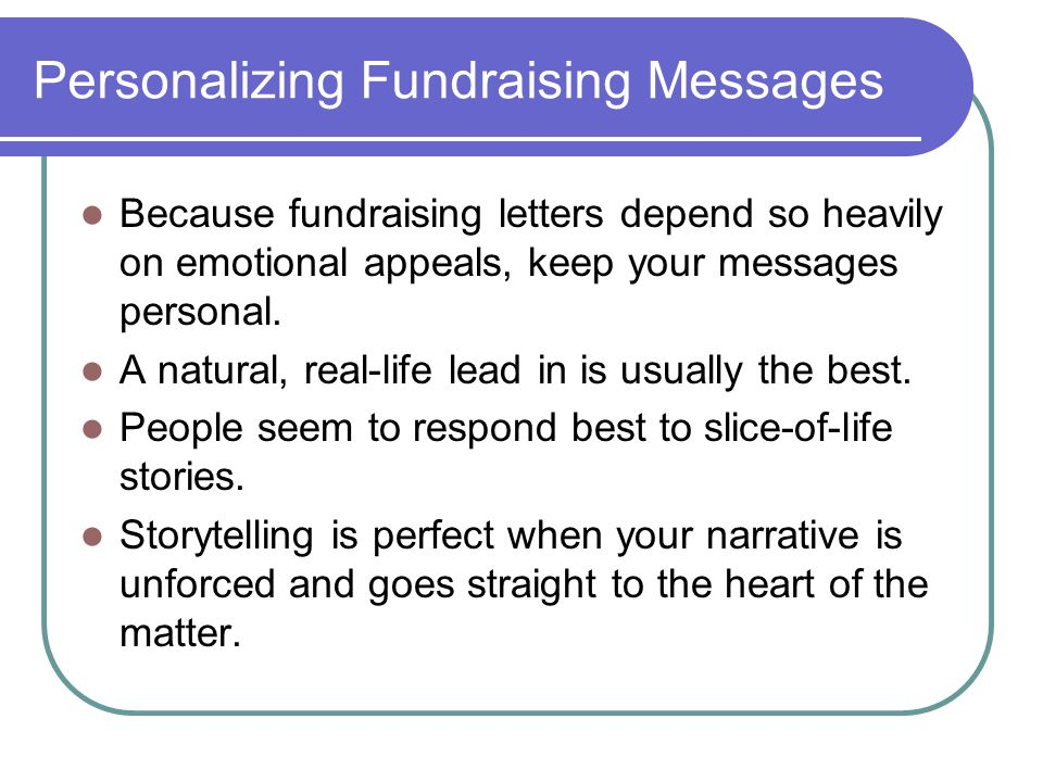 Personalizing Fundraising Messages