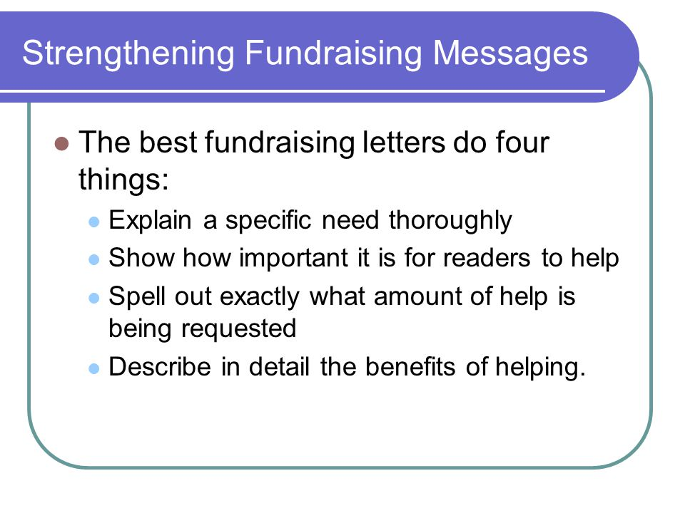 Strengthening Fundraising Messages