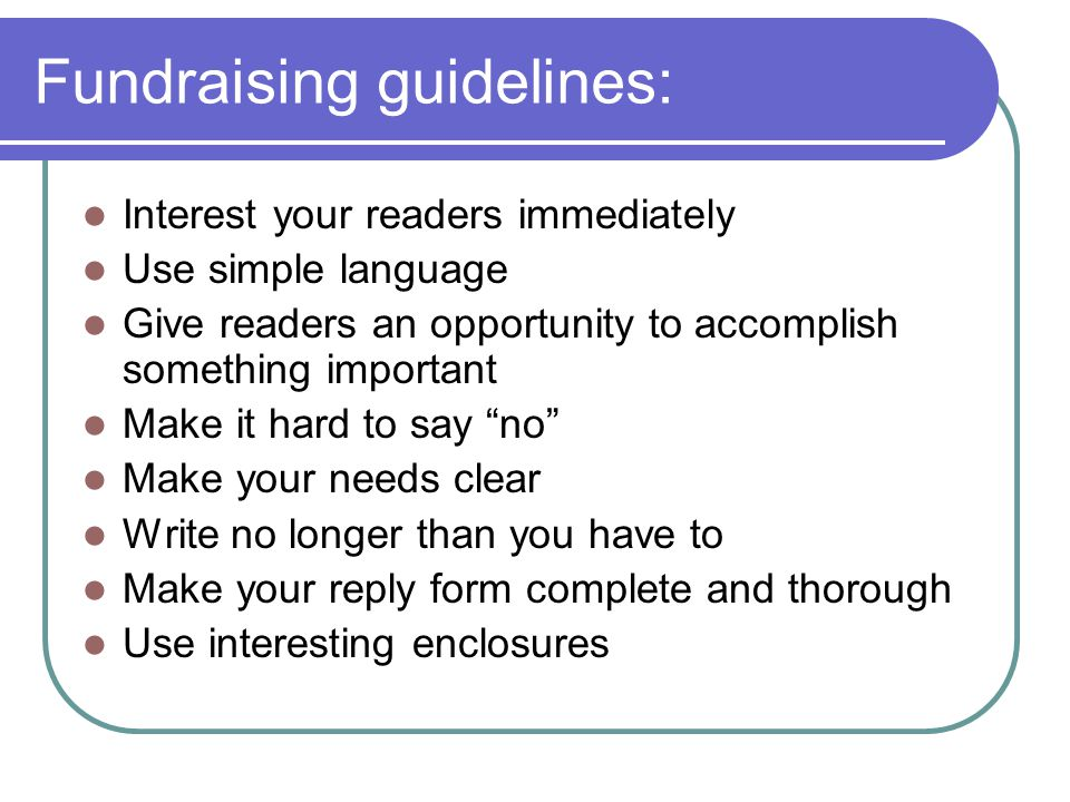 Fundraising guidelines: