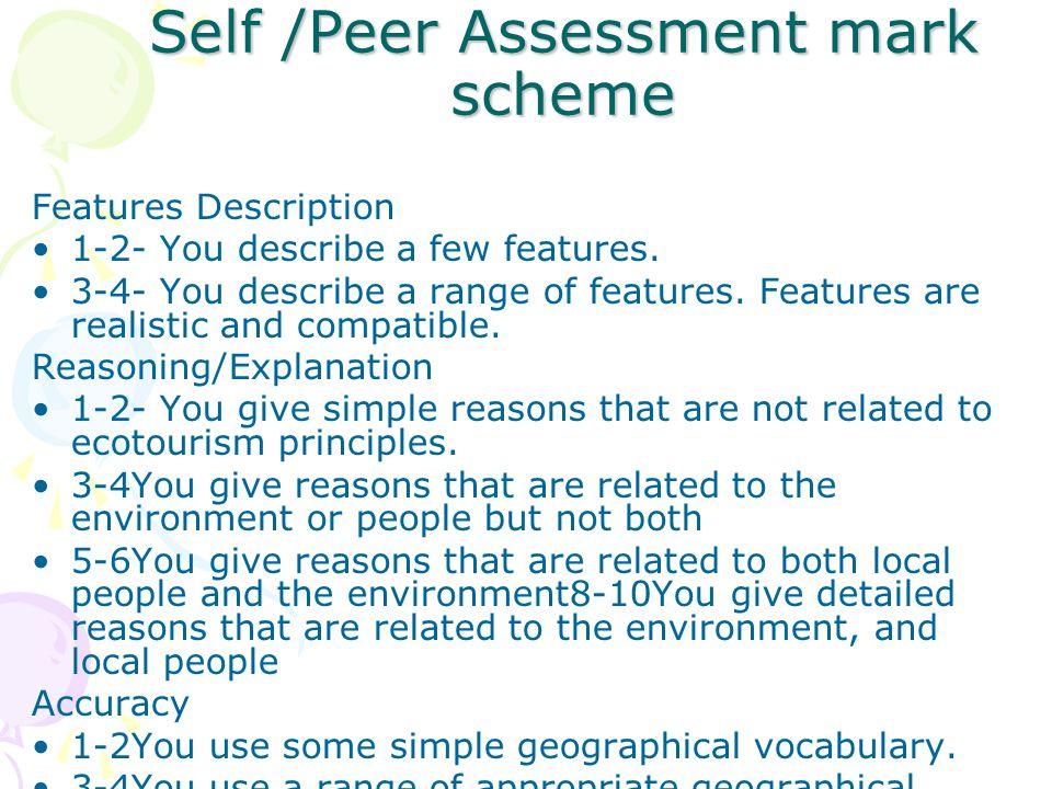 Self /Peer Assessment mark scheme