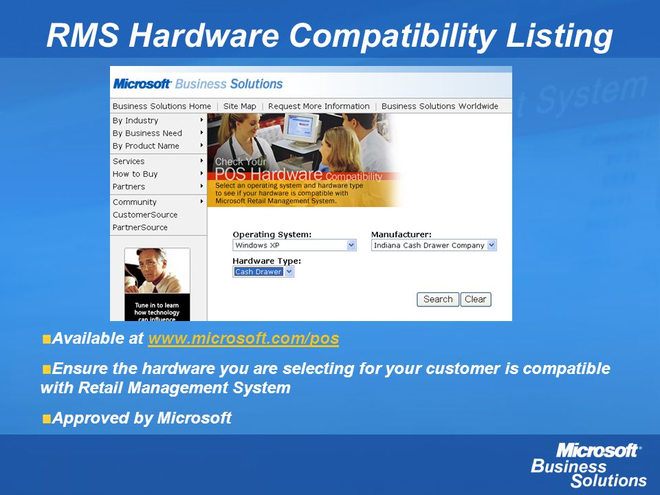 RMS Hardware Compatibility Listing