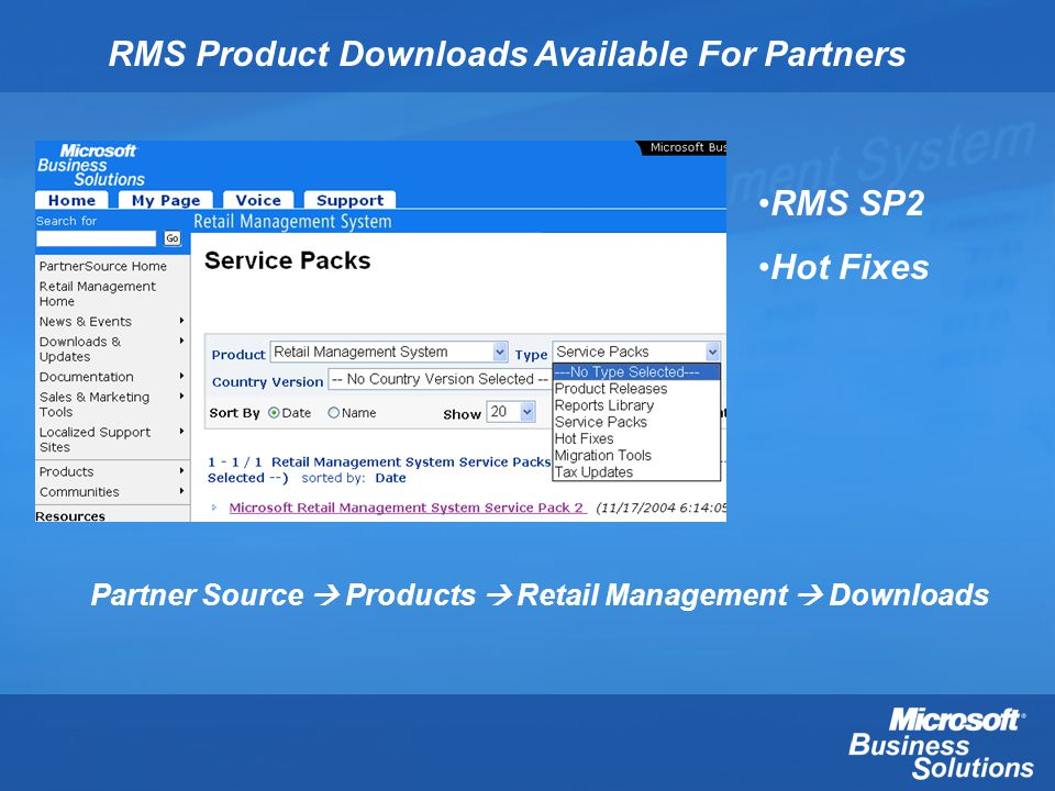 RMS Product Downloads Available For Partners