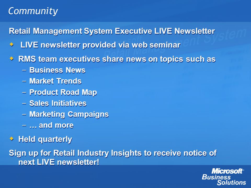 Community Retail Management System Executive LIVE Newsletter