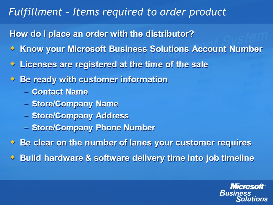 Fulfillment – Items required to order product